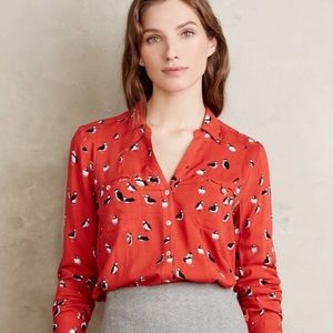 Marve red puffin button down